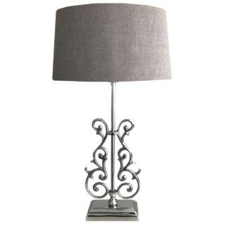 Tischlampe Victoria silber Metall verschnörkelt Lampenschirm Livigno Leber taupe Shabby chic edel