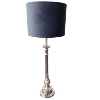 Tischlampe silber Lampenschirm petrol blau Samt Velour son der Marke Light and Living