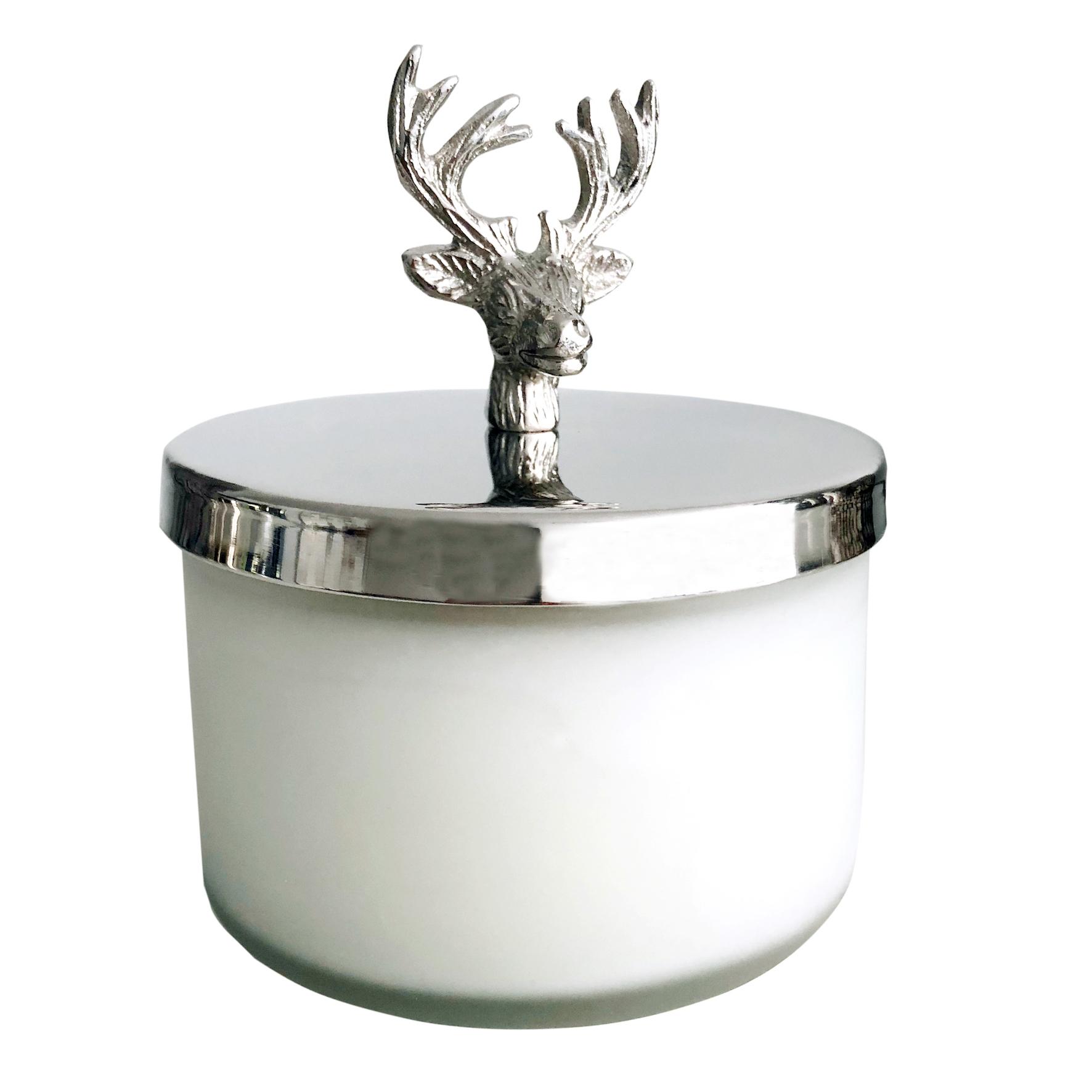 edle duftkerze im glas mit deckel hirsch hirschgeweih silber duft vanille flourou luxury. Black Bedroom Furniture Sets. Home Design Ideas