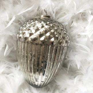 Eichel Zapfen Tannenzapfen silber Glas Bauernsilber antik Weihnachtsschmuck Dekoration silber