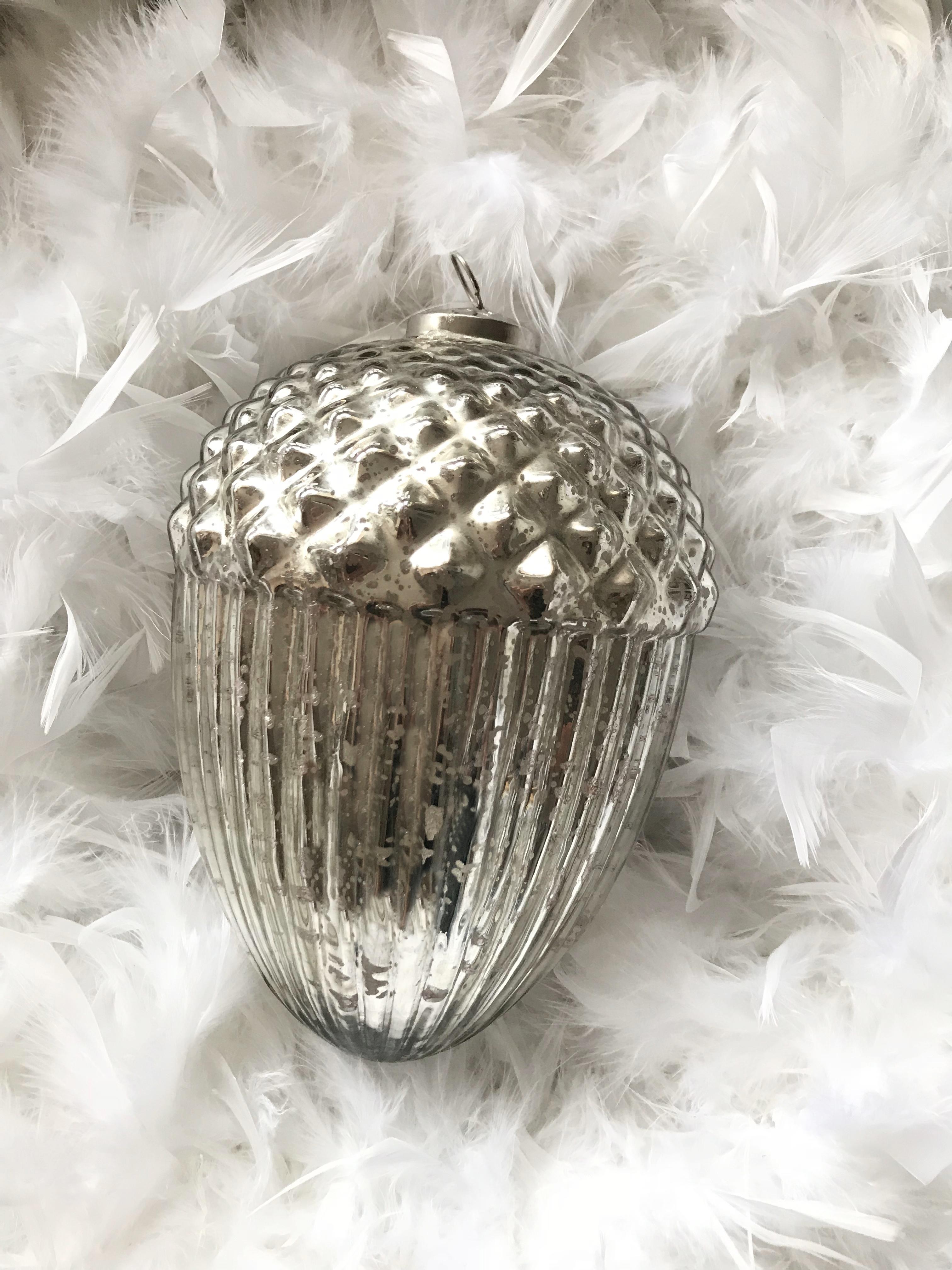 Dekozapfen Eichel Tannenzapfen Bauernsilber Glas Silber Antik Weihnachtsschmuck Flourou Luxury Interior Design Art