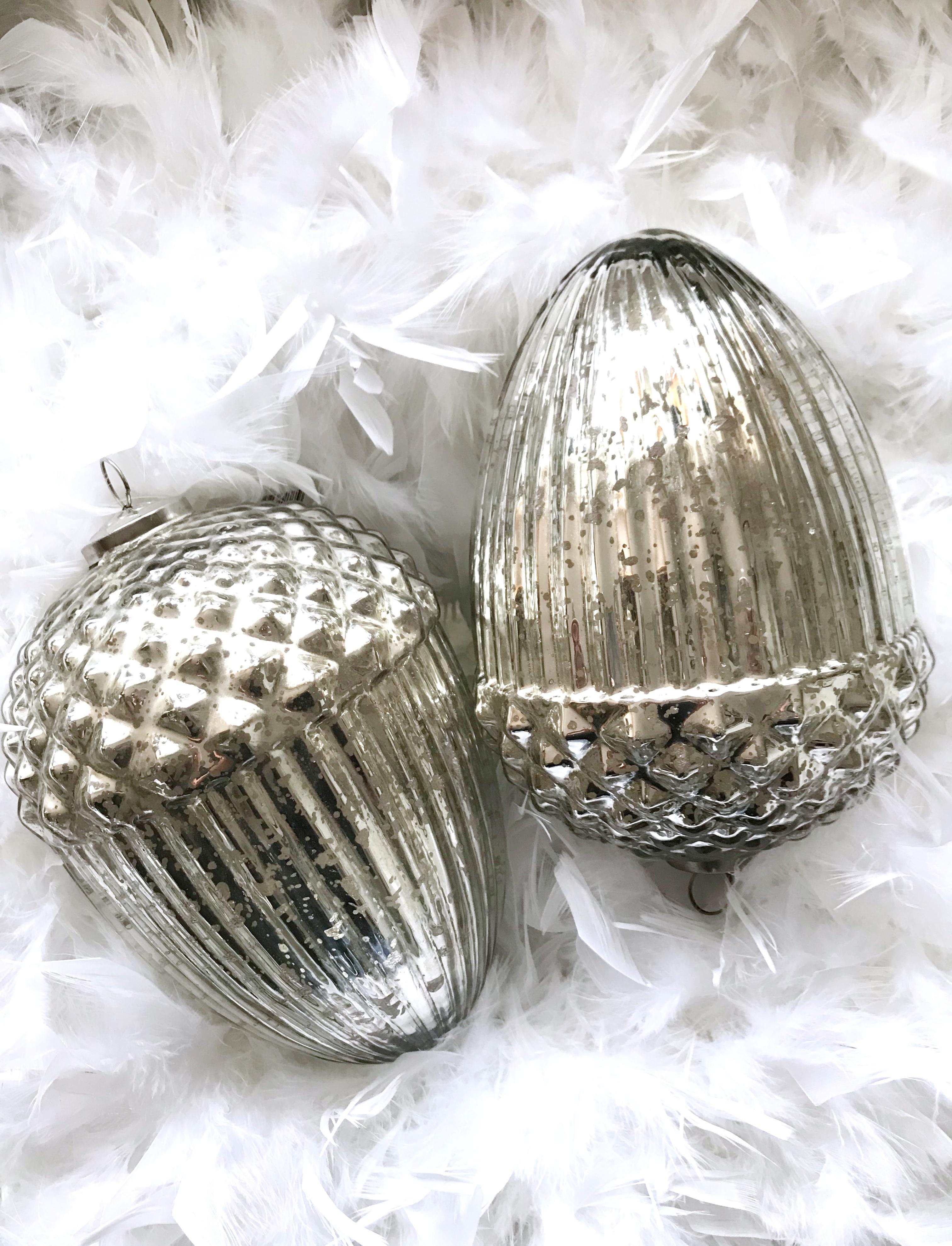 Eichel Tannenzapfen Bauernsilber Glas silber antik Weihnachtsschmuck ...