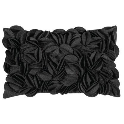 Kissen aus Filz Blätter Blüten Motiv grau anthrazit Dekokissen Kissen Dorothy von pad concept