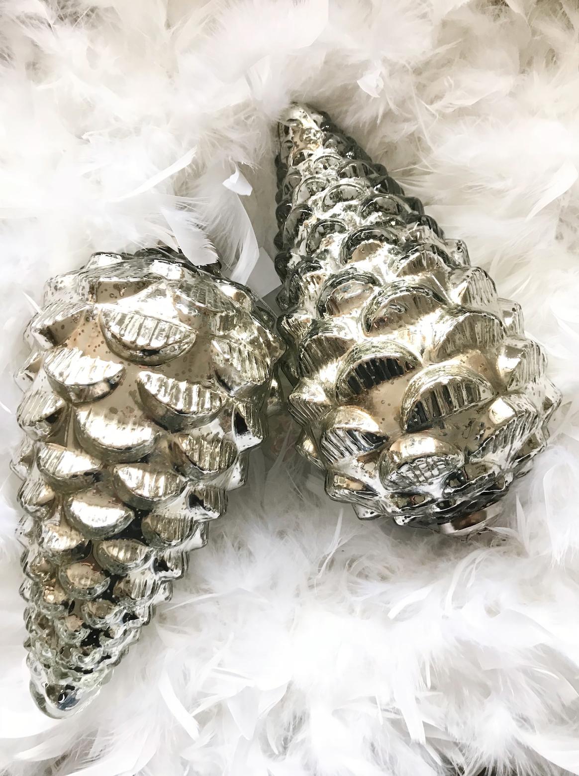 Tannenzapfen Eichel Bauernsilber Glas silber antik Weihnachtsschmuck ...