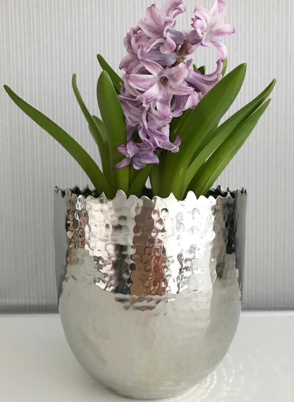Vase übertopf Blumentopf Hammerschlag Edelstahl Silber Flourou