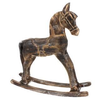 Pferd Holzpferd Deko Pferd aus Holz Schaukelpferd Holz braun Shabby chic Vintage 63 cm Kinderzimmer Pferd Weihnachten Dekoartikel