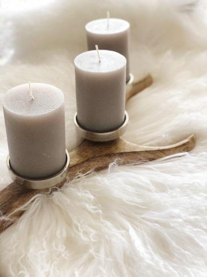 Kerzenständer Kerzenhalter braun Holz Hirschgeweih Adventskranz Hirschgeweih Holz Metall 4 Kerzen länglich Herbst Weihnachten