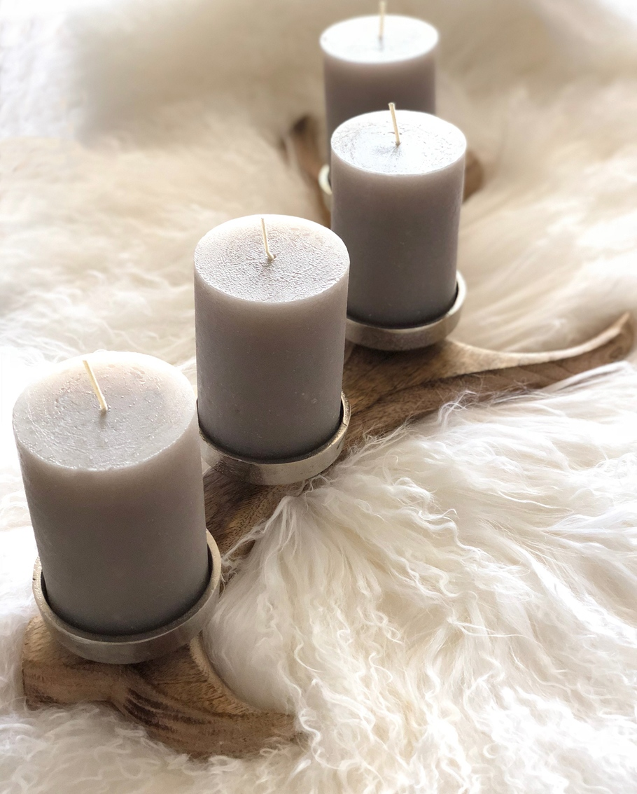 Kerzenhalter Hirschgeweih Holz Metall Für 4 Kerzen 57 Cm