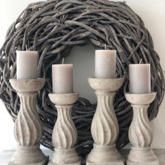 Kerzenständer Kerzenhalter Keramik Betonoptik grau taube in Shabby chic, Landhaus sehr edel, in zwei Größen
