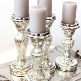 Kerzenhalter Kerzenständer Bauernsilber Glas silber edel 2 Größen