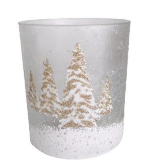 Teelichthalter Teelicht Weiß gold Glas mit Weihnachtsbäumen verschneit Kaheku
