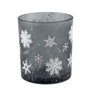 Teelicht Schneeflocke grau Glas, graues Glas mit Schneeflocken weiß