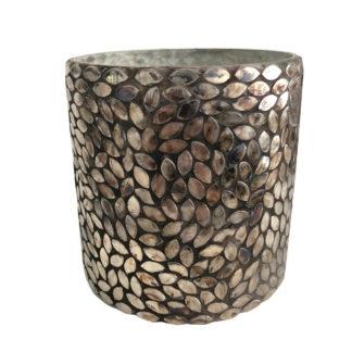 Teelicht silber bronze Glas aus Metallblättern sehr edel Teelichthalter Windlicht