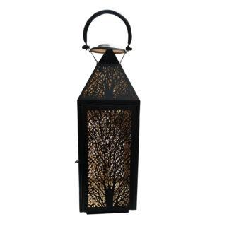 Windlicht Laterne Metall schwarz gold Baum Motiv