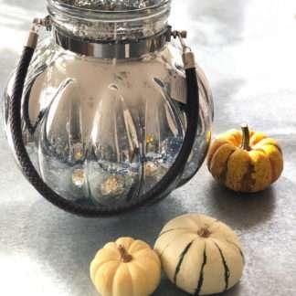 Windlicht Teelichthalter Teelicht XXL Spiegelglas silber rund bauchig mit Henkel in Lederimitat