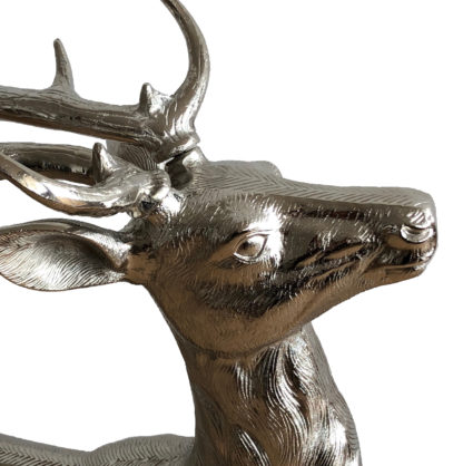 Hirsch Hirschgeweih Hirschfigur silber Aluminium Metall XXL Figur 93 cm groß stehend