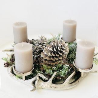Kerzenhalter Kranz Hirsch Hirschgeweih silber Metall Aluminium vernickelt rund Kranz Hirschgeweih rund Kaheku Kerzenhalter Hirschgeweih für 4 Kerzen Adventskranz Weihnachtskranz Jagd Geweih