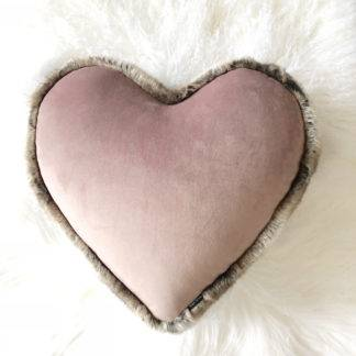 Kissen Herzform, Dekokissen Form Herz , Samt und Fell edel, steen design, hell rosa, altrosa, rosa, Fellkissen