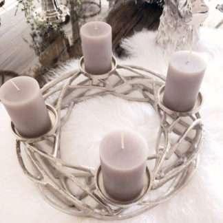Kranz Adventskranz Weihnachtskranz für 4 Kerzen Alu silber Metall Ast Zweige modern