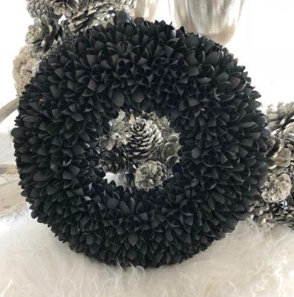 Kranz Dekokranz Wandkranz Türkranz Weihnachtskranz bakuli Früchte Naturkranz schwarz shabby chic