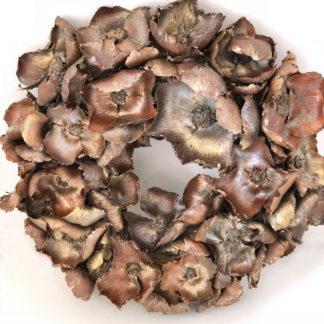 Kranz Türkranz Naturkranz Dekokranz Weihnachtskranz edel aus getrockneten Blumen braun gold kupfer silber
