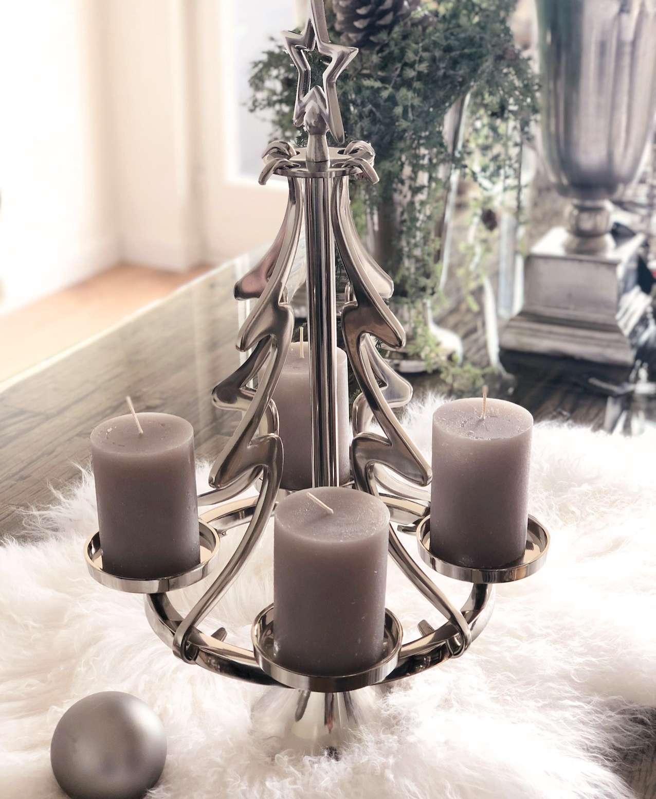 haengender adventskranz weihnachtsbaum rund silber