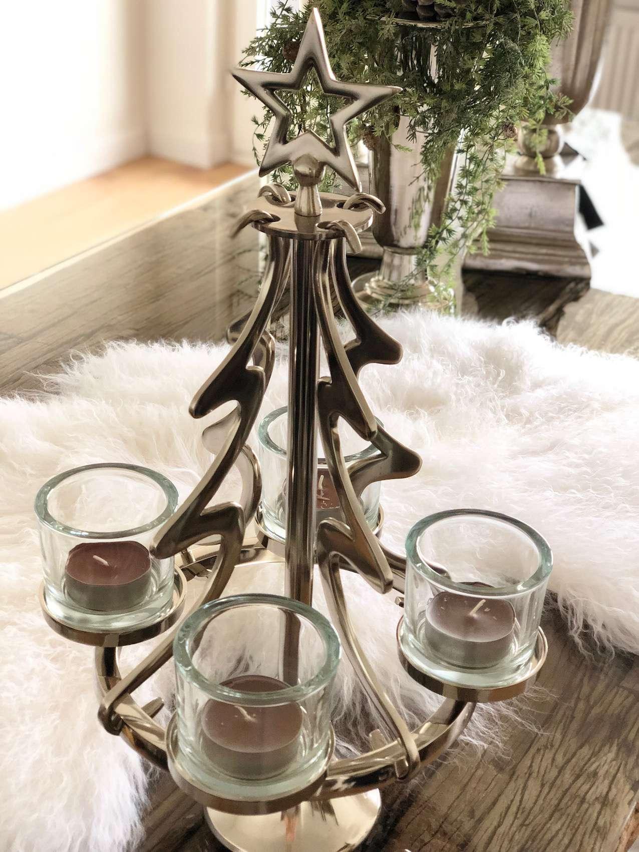 h ngender adventskranz weihnachtsbaum rund silber. Black Bedroom Furniture Sets. Home Design Ideas