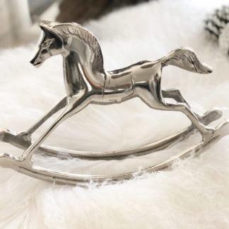 Schaukelpferd Dekoartikel Schaukelpferd silber Metall Aluminium Dekopferd Pferd