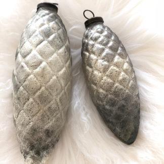 Zapfen Eichel Tannenzapfen Weihnachtsschmuck silber grau beige