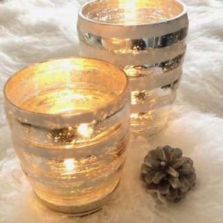 Teelicht Windlicht Bauernsilber weiß silber antik gestreift
