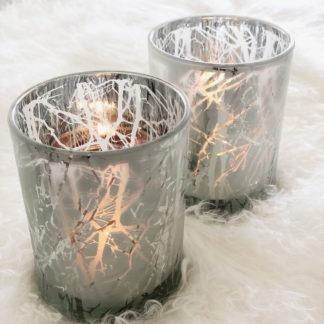 Teelicht Windlicht silber grau weiß Äste schweres Glas