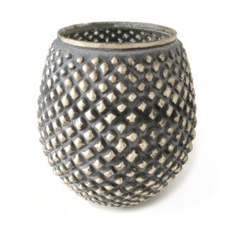 Teelichthalter Windlicht Silber bronze antik grau rund bauchig XL Teelicht groß silber grau bronze antik Licht Dekoration Tischdekoration