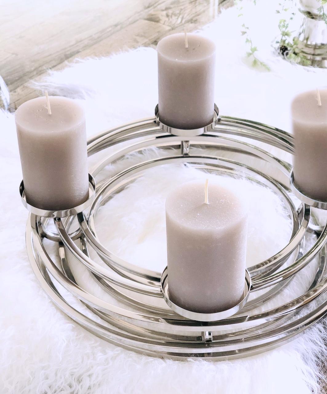 Kranz Kerzenhalter Adventskranz Silber Modern Ventura Fur 4 Kerzen