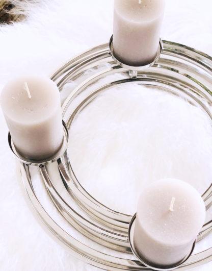 Adventskranz Weihnachtskranz Kerzenhalter Kerzenständer silber Metall rund modern 4 Kerzen Kaheku moderner Kranz Kerzenhalter silber Edelstahl kranz Ventura