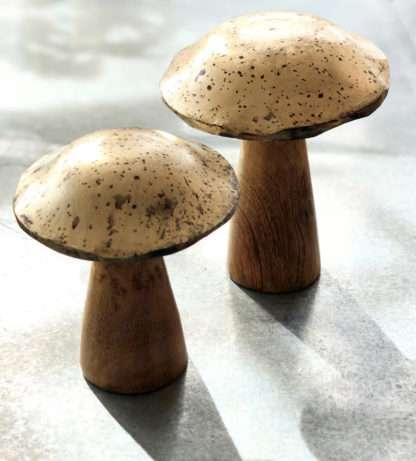 Dekoartikel Pilz Pilze Herbst aus Holz im Wald stehende Pilze Deko Pilze Holz silber bronze antik Herbstdeko Dekopilze