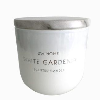 Duftkerze dw home Duft Gardenia in einem weißem Glas mit Marmordeckel, white Gardenia