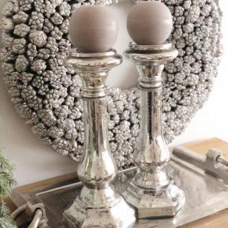Kerzenständer Kerzenhalter Bauernsilber antik silber Glas edel 39 cm mit Stern