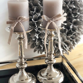 Kerzenständer Kerzenhalter silber edel Metall Edelstahl von Light and Living Navarra 27 cm Hoch sehr edel Kerzenlicht Kerzenhalter klassisch