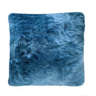 Kissen blau Lammfell Kissen Neuseeland Lammfell blau Teal Himmelblau echt Fell weich von auskin 35 cm mit Inlett