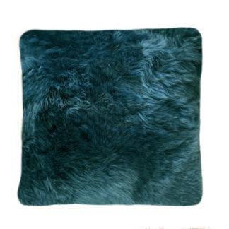 Kissen Lammfell Neuseeland petrol blau caspien echt Fell weich von der Marke auskin 35 cm mit Inlett