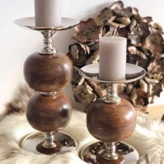 Kerzenhalter Kerzenständer Edelstahl mit Holz rund sehr edel sehr groß in zwei Größen
