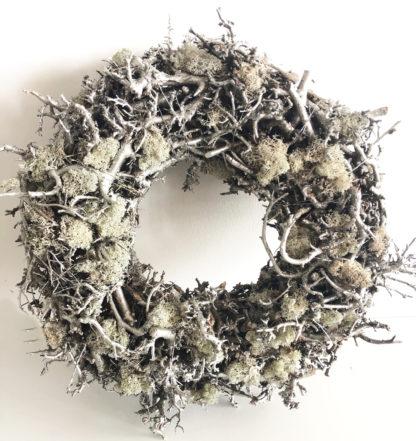 Kranz Dekokranz Türkranz Naturkranz aus Moos grün oliv silber Moos Äste sehr edel Osterkranz Wandkranz Weihnachtskranz Türkranz rund