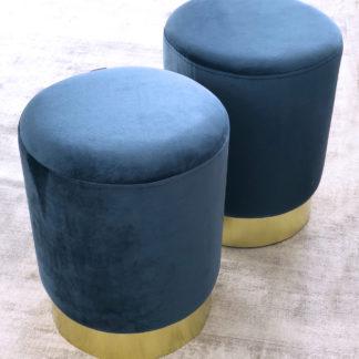Samthocker, Sitzhocker blau grau, Samt und Metall, 43x35 cm