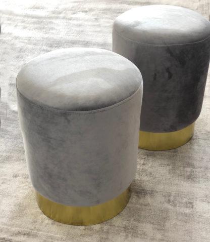 Samthocker Hocker Polsterhocker Sitzhocker Grau Samt mit Metallsockel gold 43 x35 cm