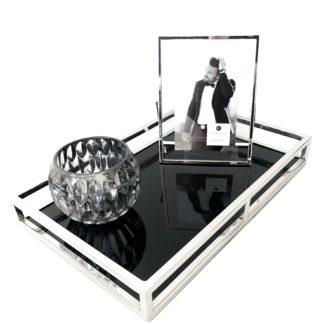 Tablett silber Edelstahl Metall mit Glas schwarz Glastablett sehr edel länglich mit Rand schwarzes Glas