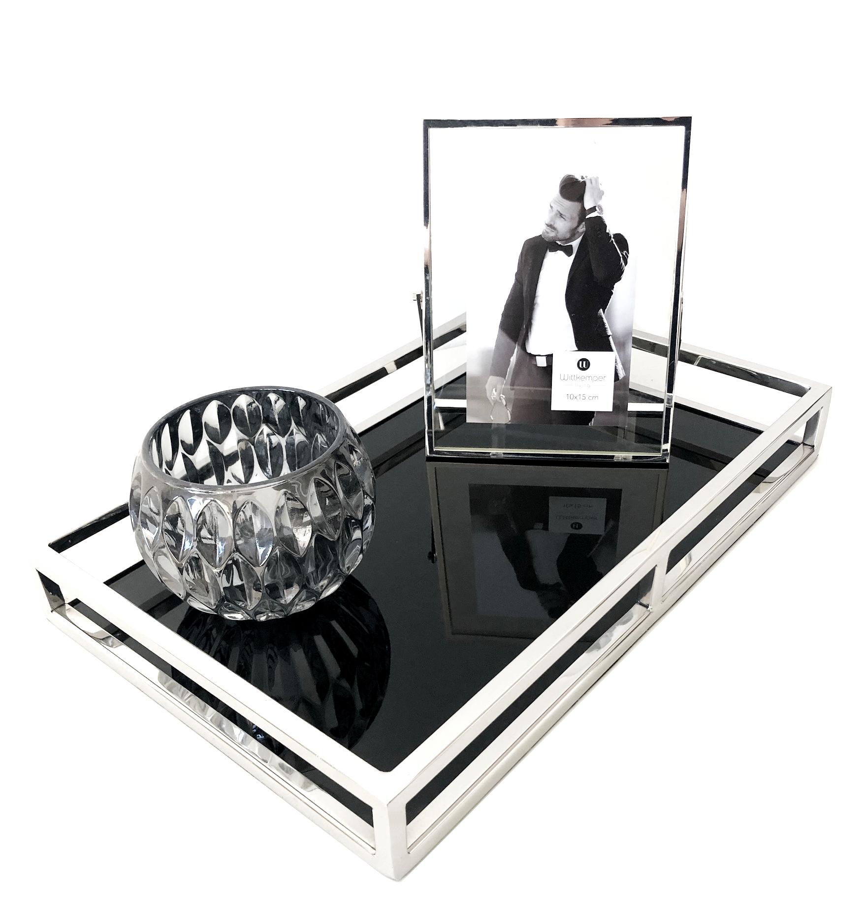 edles tablett edelstahl silber schwarzes glas l nglich 41. Black Bedroom Furniture Sets. Home Design Ideas