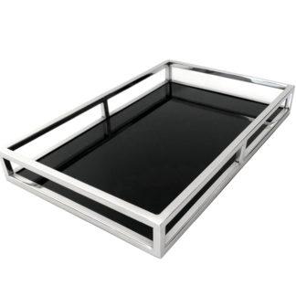 Tablett silber Edelstahl Metall mit Glas schwarz Glastablett Serviertablett Dekotablett sehr edel länglich mit Rand schwarzes Glas