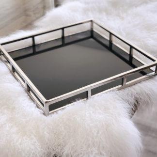Tablett Edelstahl mit Rand silber schwarz edel 40x40 cm, quadratisch