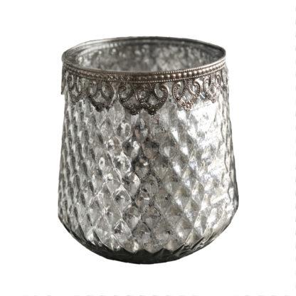 Teelichthalter Bauernsilber mit verziertem Rand Windlicht Teelicht Bauernsilber silber antik