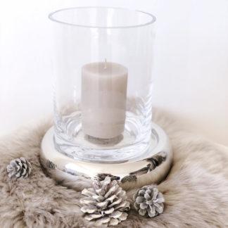 Windlicht Teelichthalter Kerzenteller Nele mit Glasaufsatz Glas silber Kaheku